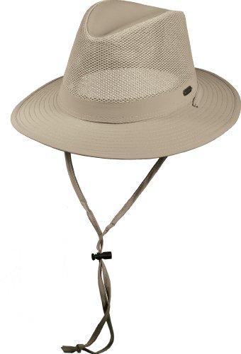 Stetson No Fly Zone Insect Shield Nylon Mesh Safari w Chin Cord Hat Khaki Large