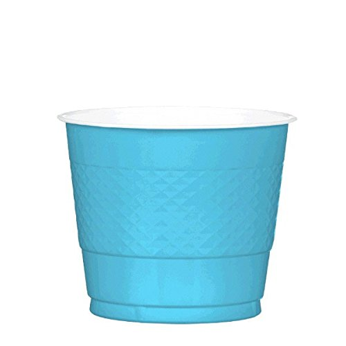 Reusable Party Cups Tableware, Caribbean Blue, Plastic, 9 Ounces, Pack of 20