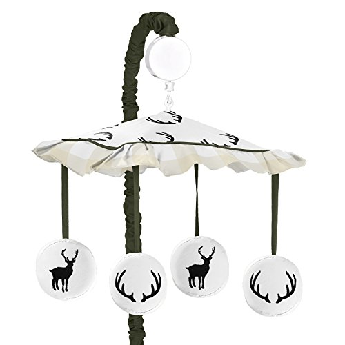 - Sweet Jojo Designs Green and Beige Rustic Deer Buffalo Plaid Check Musical Baby Crib Mobile for Woodland Camo Collection