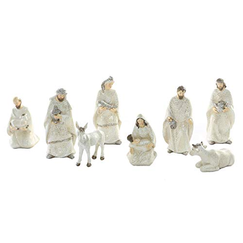 (Goose Creek Mini Nativity Resin Statues Holiday Seasonal Figurine Ornaments Polystone Dolls for Home and Outdoor Garden Decoration,Set of 8)