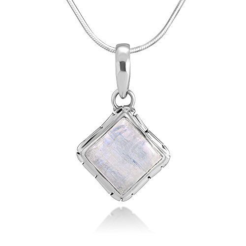 "Sterling Silver Moonstone Healing Gemstone Square Pendant Necklace w/ 18"" Silver Chain"