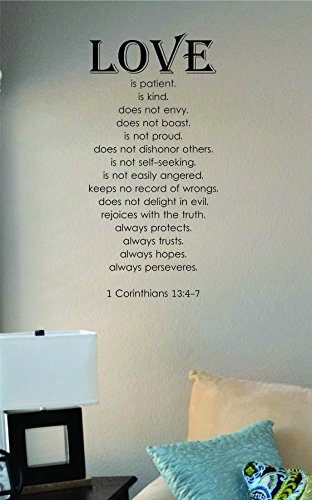 Love Is Patient Is Kind… 1 Corinthians 13:4-7 Vinyl Wall Art Decal Sticker