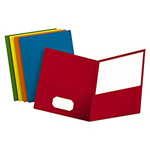 Oxford Twin Pocket Folders, Letter Size, Assorted Colors, 25 per Box (57513)