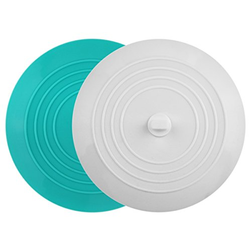 tifanso 2 Pack Silicone Tub Stopper Recyclable Bathtub Drain Stopper Upgraded Drain Plug Cover for Bathrooms and Laundries Kitchen Universal Use 6 inches (White/Teal)