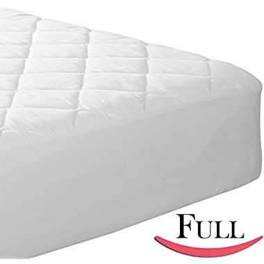 Fitted Quilted Full Mattress Pad - Stretches up to 17 inches Deep! Mattress Pad Cover by Utopia Bedding