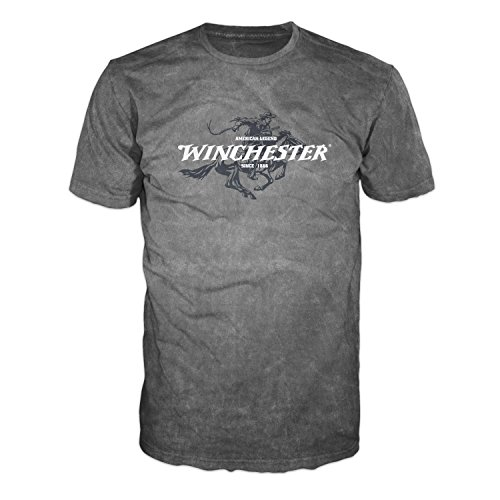 Official Winchester Mens Limited Edition Legend Rider Graphic Short Sleeve T-Shirt (XXL, Charcoal Mineral Wash)