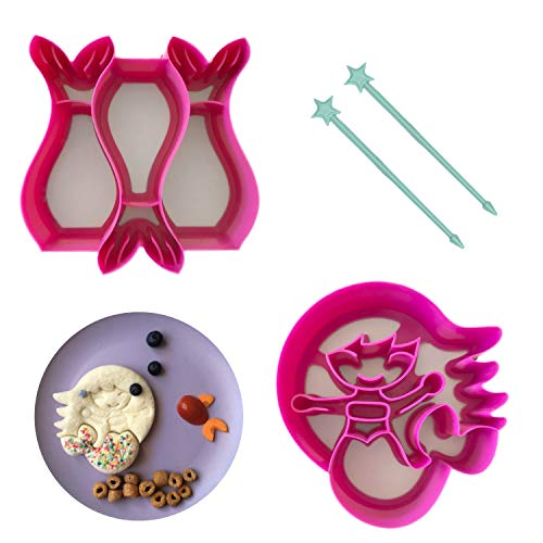 (LunchPunch MERMAID Sandwich Cutter Set - ORIGINAL SHAPES - Lifetime Replacement Guarantee - BPA FREE - Remove Crusts and Create Fun Bites to Fit in a Kids Bento Lunch)