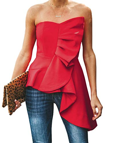 (Valphsio Womens Ruffle Party Blouse Strapless Asymmetrical Flare Peplum Top Shirts Red)