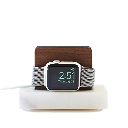 Apple Watch Stand White Marble and Walnut - Nightstand Mode by ILUXO