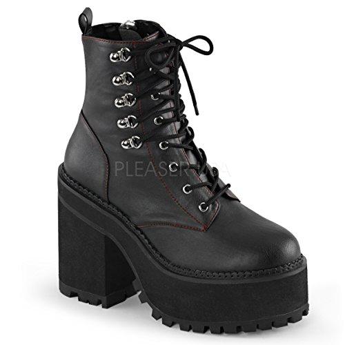 (Demonia Women's Asst100/Bvl Boot, Black Vegan Leather, 10 M US)