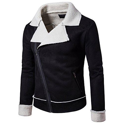 Chaqueta casual personalidad a las mangas del collar de cuerpo grande compuesto de hombres elegante chaqueta con cremallera de alta gama, Black Series L