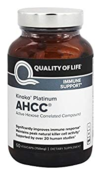Premium Kinoko Platinum AHCC Supplement 750mg of AHCC per Capsule Supports Immune Health, Liver Function, Maintains Natural Killer Cell Activity 60 Veggie Capsules