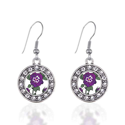 Inspired Silver - Pansy Flower Charm Earrings for Women - Silver Circle Charm French Hook Drop Earrings with Cubic Zirconia Jewelry ()