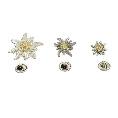 Alpenflüstern Bavarian Pins Edelweiss (3 items set) (bicolor coloured) - Traditional German Jewelry Dirndl,Lederhose
