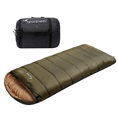 Sportneer -18C/0F Sleeping Bag, 90″ x 39″ BONUS Compression Sack, Army Green
