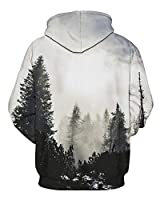 GLUDEAR Unisex Realistic 3D Digital Print Pullover Hoodie Hooded Sweatshirt,Forest,S/M