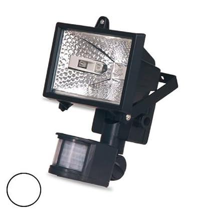 Evila - Foco halogena con sensor+lámpara 150w ip44 blanco