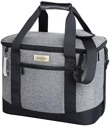 esafio Collapsible Insulated Cooler Bag 18L 34-Can , Large Leakproof Soft Sided Portable Cooler Bag for Outdoor Travel Beach Picnic Camping BBQ Party, Grey