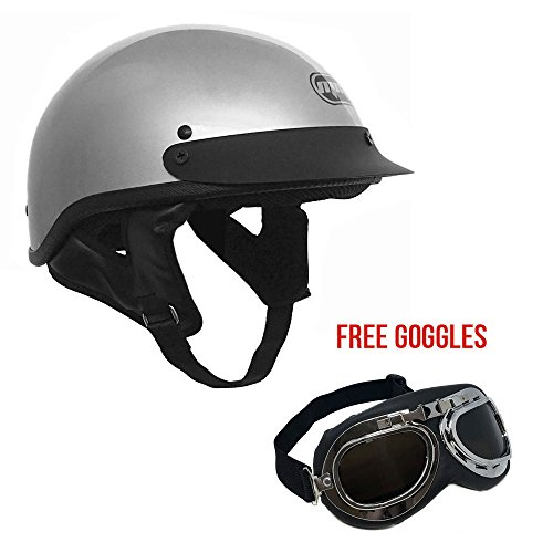 Gray Motorcycle Helmet (Motorcycle Cruiser Half Helmet DOT Street Legal – Silver/Gray (X-Large) + FREE Goggles Chrome Vintage Pilot Style)