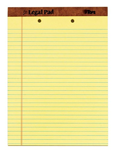 "TOPS The Legal Pad Writing Pads, 8-1/2"" x 11-3/4"", Canary Paper, Legal Rule, 50 Sheets, 12 Pack (7531)"