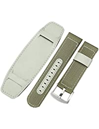 Nylon Woven Watch Strap Universal Sports Bands Watch Wristband Stainless Steel Buckle Watch Bands Watch Accessories (22mm, Green)