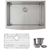 30 Inch Farmhouse Apron Deep Single Bowl 16-Gauge Stainless Steel Luxury Kitchen Sink, Grids, Basket Strainer Drains, S-316XG