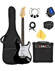 $100 » 39 Inch Full Size Electric Guitar, With Complete Beginner Starter Kit, 20 Watt Amp, 6 Extra String, Picks, Gig Bag, Shoulder Strap, Digital tuner, Cable, Tremolo Bar, Wrenches, Wash Cloth