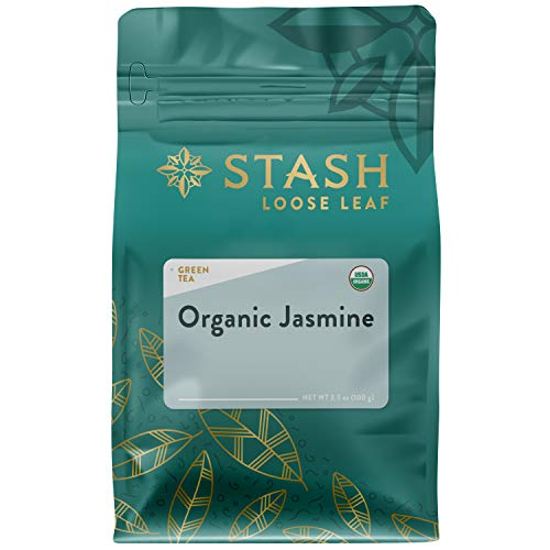 Stash Tea Organic Jasmine Green Loose Leaf Tea 3.5 Ounce Pouch Loose Leaf Premium Organic Green Tea for Use with Tea Infusers Tea Strainers or Teapots, Drink Hot or Iced, Sweetened or Plain ()