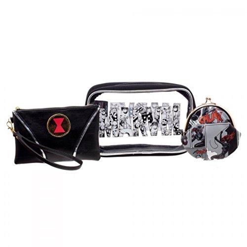 [Marvel Comics Black Widow Jrs. Gift Set Makeup Case, Zip Wallet & Coin Purse] (Black Widow Marvel Makeup)