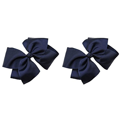 2 pack Beautiful Handmade Variety of Bright Colors Grosgrain Ribbon Bows with Alligator Clip (Navy) (Two Bow Grosgrain Pack)