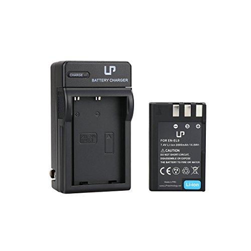 EN-EL9 Battery and Charger for Nikon D40, D40X, D60, D3000, D5000 Cameras | Rechargeable Li-Ion Battery | Replace Nikon EN-EL9 / EN-EL9a Battery and MH-23 Charger