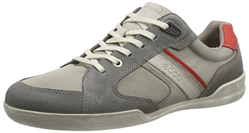 Ecco Enrico Coffee/Cognac/Sha.White Ba/Az/Ba - Casual de cuero hombre Gris (WARM GREY/MOON ROCK55634)