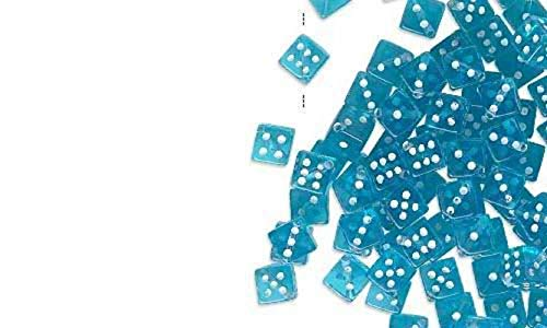 (10 Pcs Transparent Aqua Blue and White Plastic Acrylic 5mm Square Game Dice Beads with Number Dots True to Life)