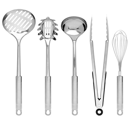 Best Choice Products Set of 29 Stainless Steel Kitchen Cookware Utensils Set w/Spatulas, Can and Bottle Openers, Measuring Cups, Whisk, Ladles, Tongs, Pizza Slicer, Grater, Strainer - Silver by Best Choice Products (Image #2)