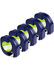 Compatible with Dymo Letratag Refills White Paper 91330 Black on White, 12mm x 4m Dymo Letratag Label Tape for Dymo Letratag Label Maker LT-100H LT-100T QX50, 5-Pack