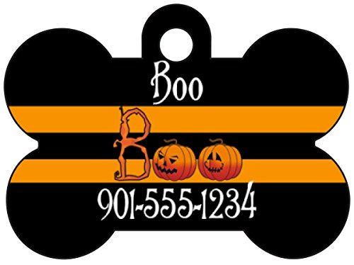Halloween Themed Pet Id Tag for Dogs & Cats Personalized w/ Name & Number (Boo Pumpkin, Bone 1.5x1
