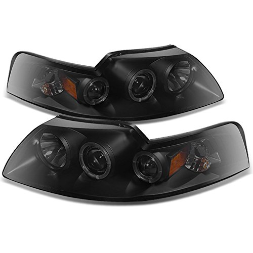 Mustang Dual Projector - For Ford Mustang Coupe Black Smoke Dual Halo 2 in 1 Design Projector Headlights w/Corner Signal Lamps