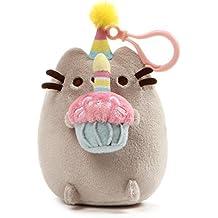 "GUND Pusheen Snackable Birthday Cupcake Stuffed Plush Backpack Clip, 5"""