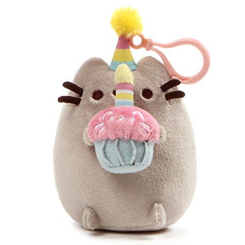 "GUND Pusheen Snackable Birthday Cupcake Cat Plush Stuffed Animal Backpack Clip, Gray, 5"" (4060837)"