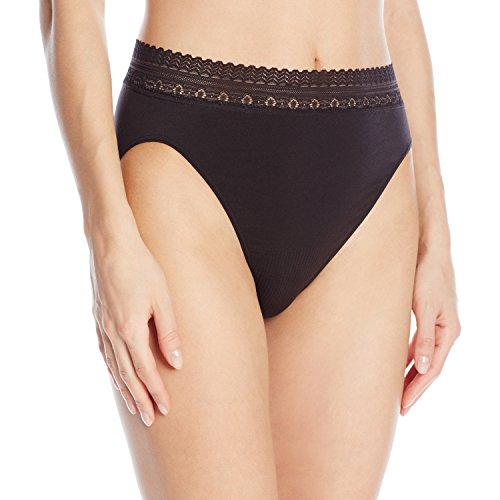 Seamless High Cut Brief (Bali Women's Comfort Revolution Seamless High-Cut Brief Panty, Black Lace, 8/9)