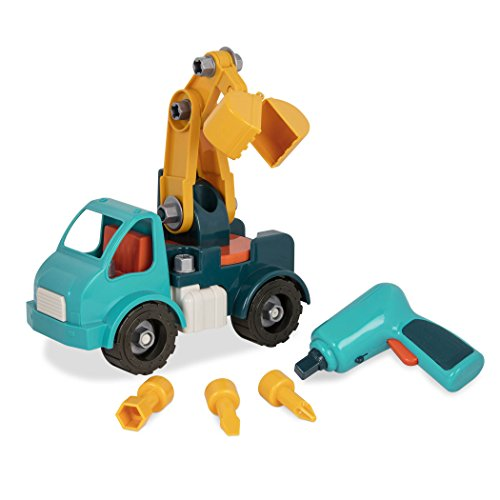 Battat Take-Apart Crane Truck – Toy vehicle assembly playset with functional battery-powered drill - Early childhood developmental skills toy for kids aged 3 and up Childrens Developmental Toys