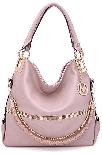 MKF Collection Beautiful Woman Designer Handbag, Hobo Bag, Glam-Gal fashion Designer purse (Dusty Pink)