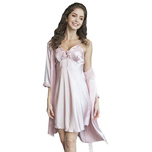 LeDan Faux Silk Sleeping Robe Woman 2 Piece Sleepwear Female Sexy V-Neck Lace Silk Bathrobe Nightdress (Pink, L)