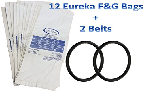 12 Bags for Eureka Style F&G Vacuum Cleaner F G Sanitaire Commercial + 2 Belts 12 Commercial Upright Vacuum