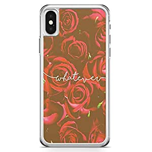 iPhone X Transparent Edge Phone Case Whatever Phone Case Beaufitul Rose Phone Case Red Rose iPhone X Cover with Transparent Frame
