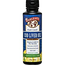 Barlean's Organic Oils Fresh Catch Cod Liver Oil, Lemonade Flavor, 8-Ounce Bottle