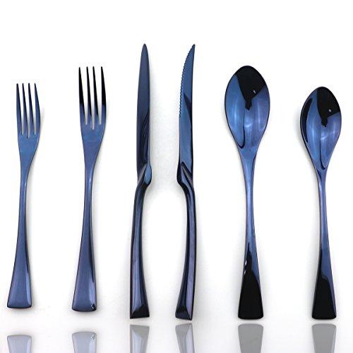 JASHII Luxury Jubilee Blue Flatware Set 20-Piece Iridescent Silverware Sets Replace Black Mirror Polished, 18/10 Stainless Steel Utensils For 4,Dinner Knife STEAK Knife Fork DINNER DESSERT (20 Piece Jubilee Flatware Set)