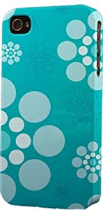 Teal Circle Pattern Dimensional Case Fits Apple iPhone 4 or iPhone 4s
