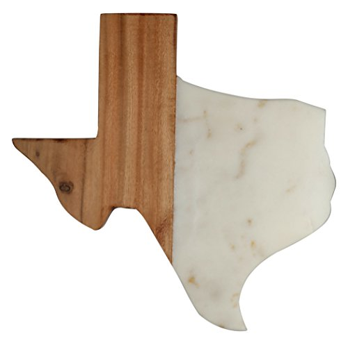 - Thirstystone Large TEXAS Shaped Mango Wood and Marble Serving/Cutting Board