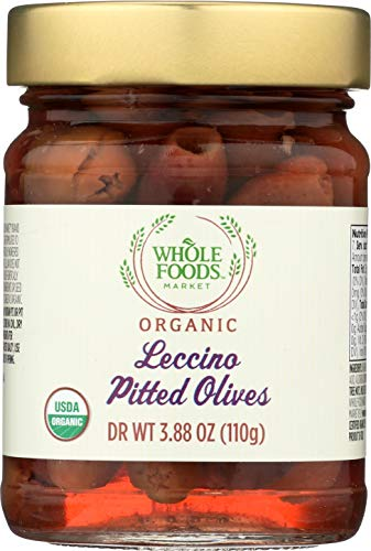 Whole Foods Market, Organic Leccino Pitted Olives, 3.88 Ounce